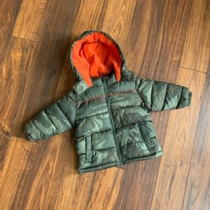 Camo Orange puffer winter coat jacket